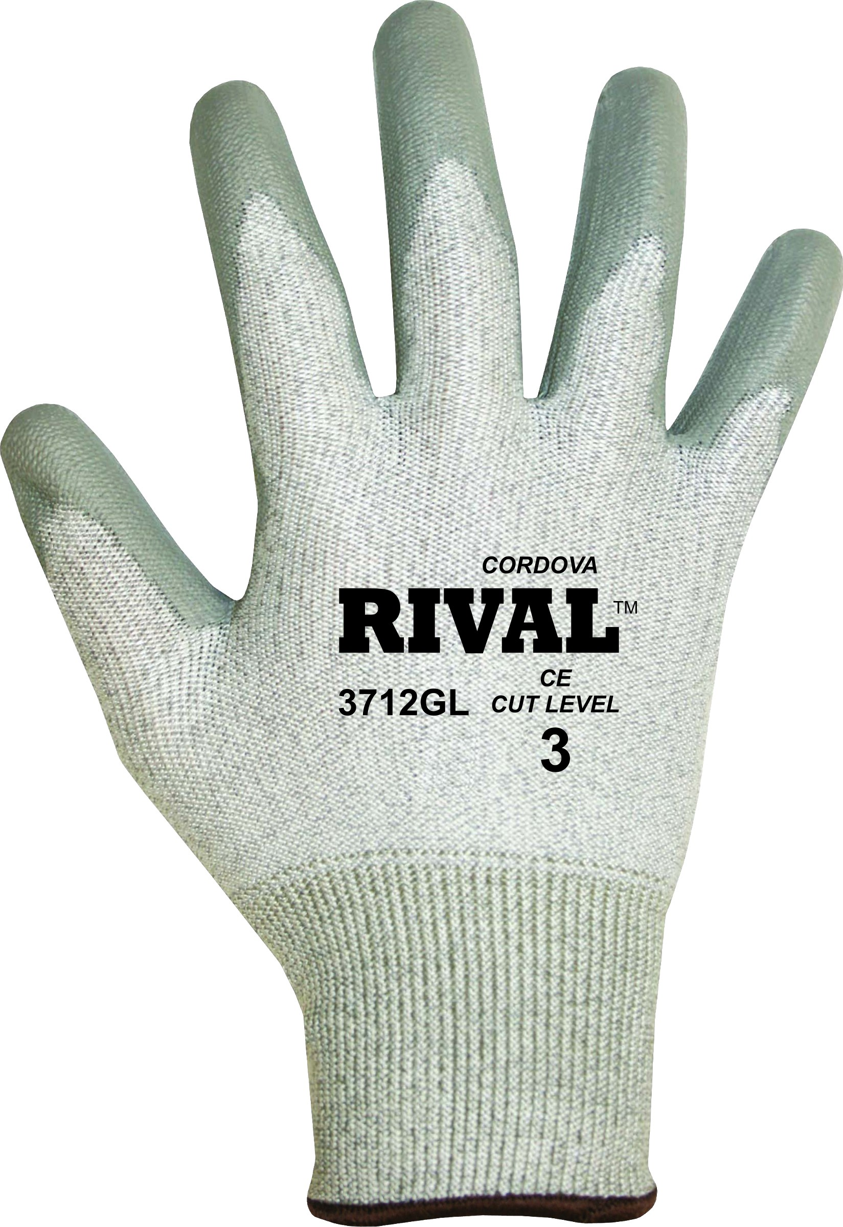 Cordova Safety 3712G Rival Gray 13 Gauge Cut Resistant Gloves Cut Level A2