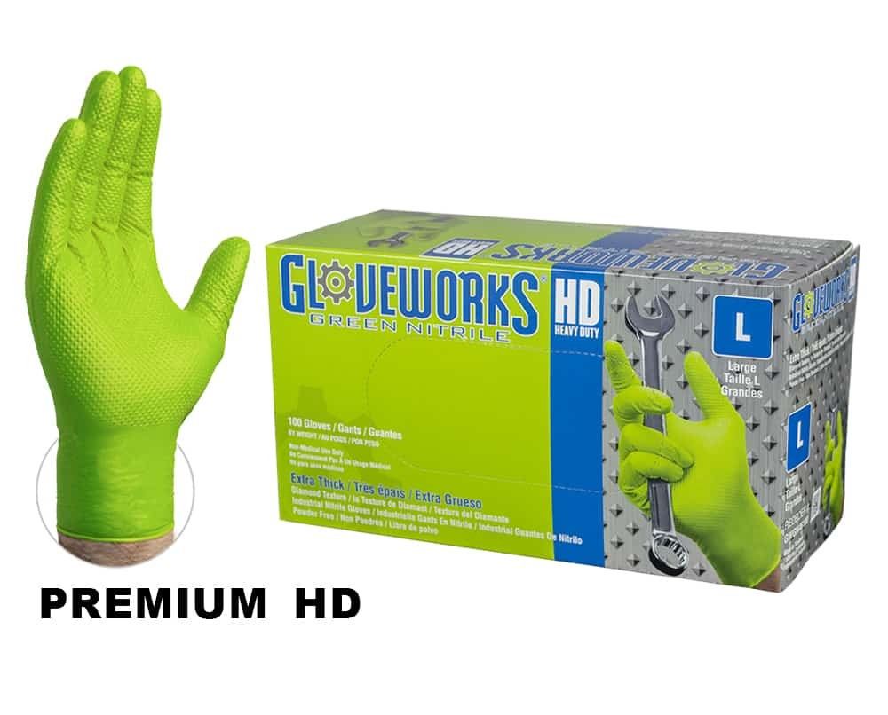 Ammex GWGN Gloveworks HD 8 Mil Green Nitrile Gloves