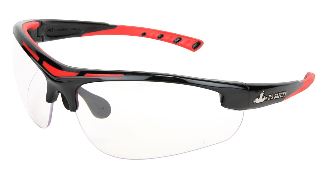 U.S. Safety MCR DM1220PF Dominator DM2 Safety Glasses - Black/Red Frame - Clear MAX6 Anti-Fog Lens