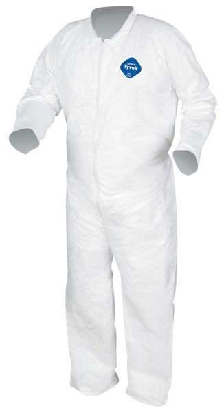 Dupont Tyvek Coverall with collar, Zipper Front Open Sleeves and Ankles TY120 - White