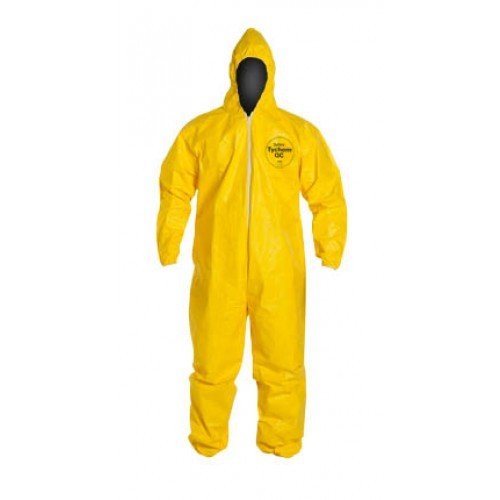 DuPont Yellow Tychem® QC Coverall w/ Hood, Elastic Wrists & Ankle - 12 /Case