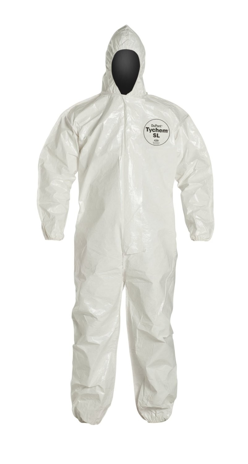 DuPont TyChem SL coverall w/ hood & boots - elastic wrists & ankles - zipper front