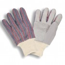 Cordova Safety 7020 Leather Palm Striped Canvas Back Gloves