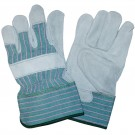 Cordova Safety 7201R Green Striped Canvas, Leather Palm, Safety Cuff Gloves
