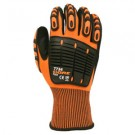 CORDOVA 7734 ORGE-Flex 13-Gauge, High Visibility Orange Polyester Shell, Black Sandy Nitrile Palm