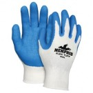 Memphis 9680 Flex Tuff Latex Coated Palm String Knit Gloves - Cotton/Polyester - 10 Gauge - White/Blue
