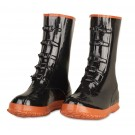"Cordova BB5B Black Five Buckle Boot, Brick Red Soles, Steel Toe, 14"" Length, Over the Shoe Style"