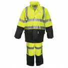 MCR Safety River City 5182S Luminator Class 3 FR Treated 2 Piece Rain Suit - Lime/Black