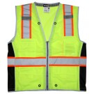 MCR Safety River City SURVL Class 2 Two-Tone Solid Surveyor Safety Vest - Yellow/Lime
