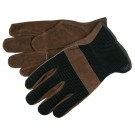 Memphis  Gloves 3125 Split Cowhide Leather Drivers Gloves, Brown with Black Mesh Back