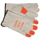 """Memphis  Gloves 3215HVI Industry Grade Cow Grain Driver Gloves, """"Watch Your Hands"""" on Back"""