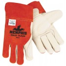 Memphis 4921LH Red Ram Split Cow Leather - Leather Double Palm - MIG/TIG Welders Gloves - Red-Left Hand