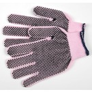 Memphis Gloves String Knit Work Gloves, PVC Dots Two-Sided, Pink