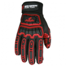 MCR Memphis FT2905 TPR Back of Hand Protection Synthetic Leather palm Red Silicone Tire Tread grip Black