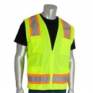 PIP 302-0500 Class 2 Two-Tone Surveyor Safety Vest with Six Pockets - Yellow/Lime